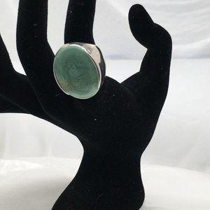 Premier DesignsRing Silver Plate Green Stone, sz 7